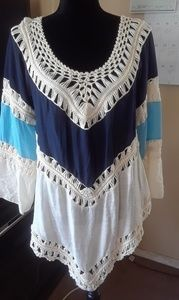This weekend ONLY Blue crochet Tunic